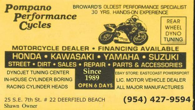 Pompano Performance Cycles     ( 954 ) 427-9594 — Deerfield Beach