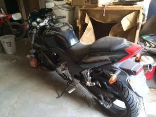 Black 2011 Crotch Rocket Motorcycle 250 cc